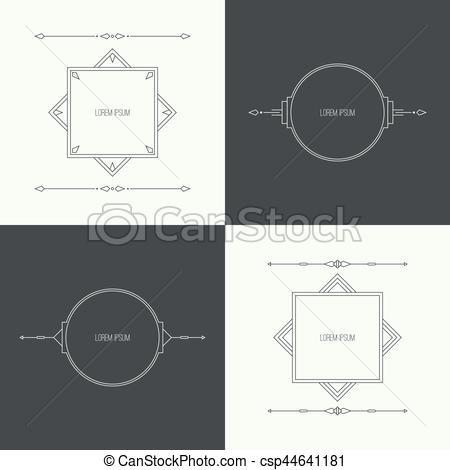 450x470 Vintage Linear Geometric Frame. Vintage Set Collection Linear
