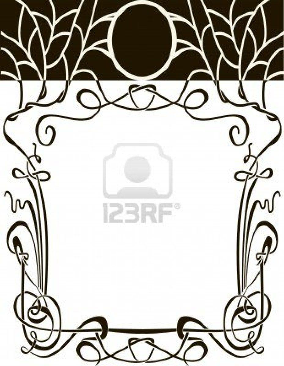 930x1200 Art Nouveau Frame Vector Wedding Background Design Elements