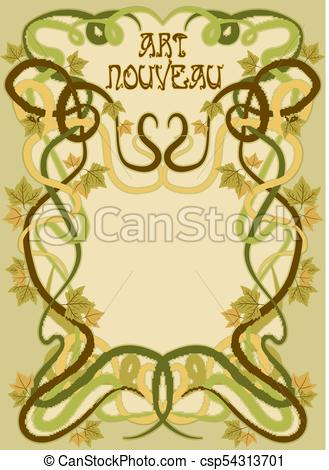 329x470 Background With Grape Leaves In Art Nouveau Style, Vector