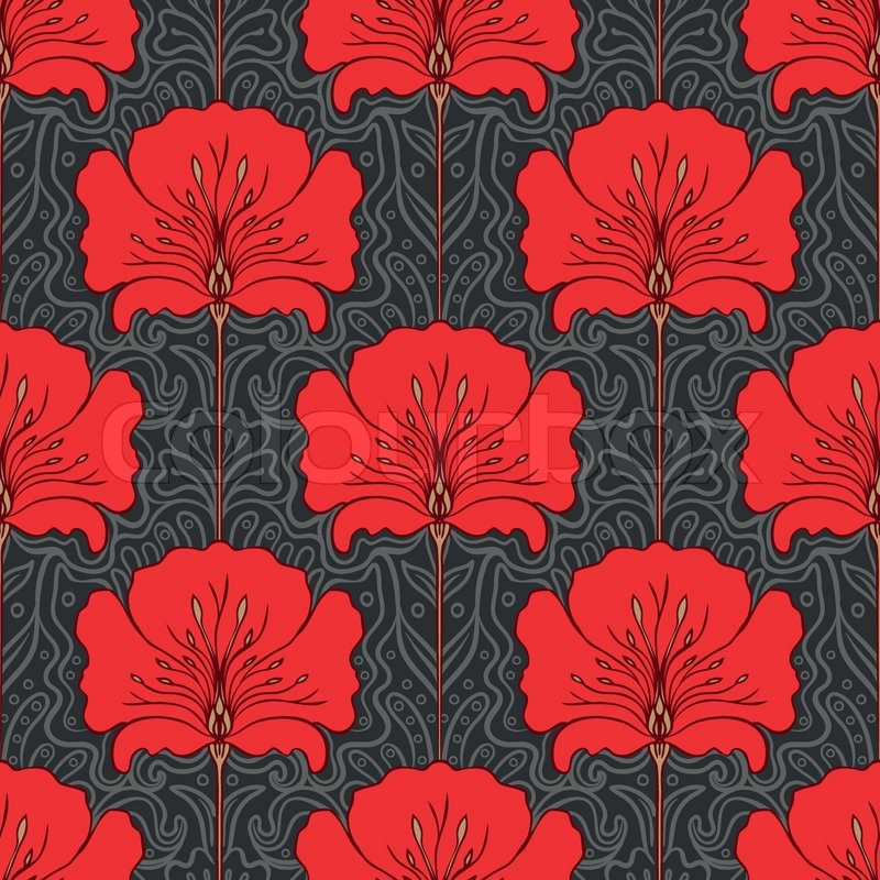 800x800 Colorful Seamless Pattern With Red Flowers On Gray Background Art