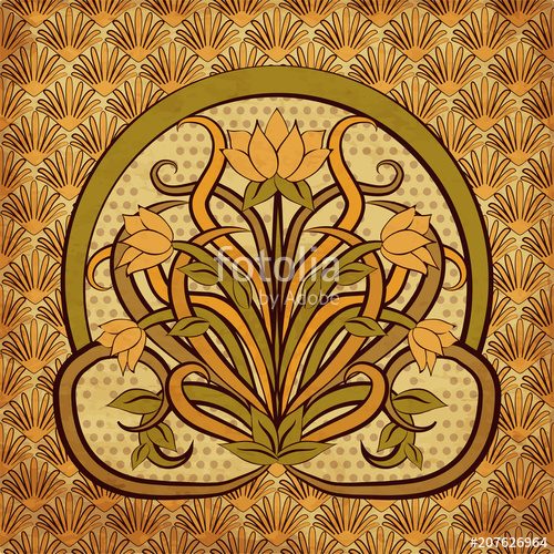 500x500 Floral Background In Art Nouveau Style, Vector Illustration Stock