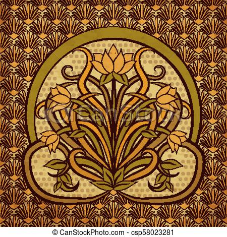 450x470 Floral Background In Art Nouveau Style, Vector Illustration.