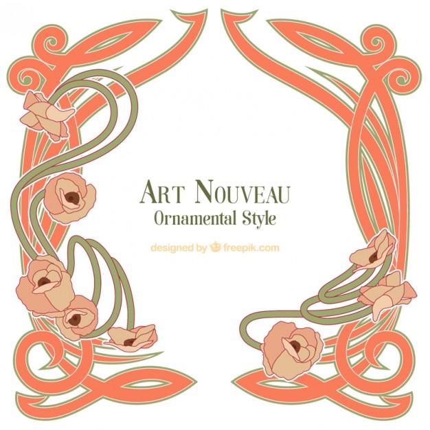 626x626 Hand Drawn Decorative Art Nouveau Frame Vector Free Download