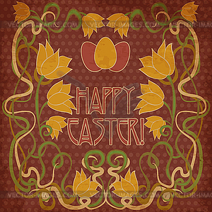 300x299 Happy Easter Invitation Card, Background In Art Nouveau