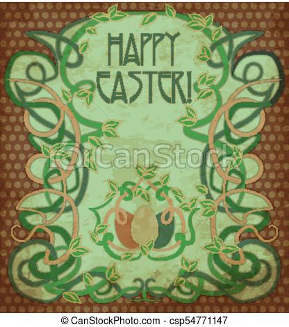 416x470 Happy Easter Background In Art Nouveau Style, Vector Illustration.