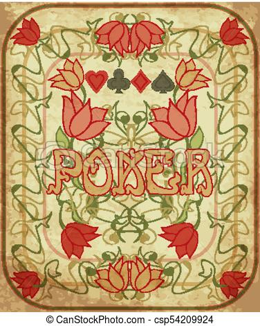 376x470 Poker Background In Art Nouveau Style, Vector Illustration.