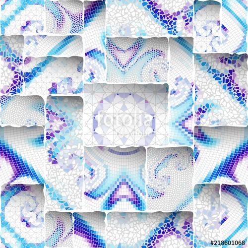 500x500 Seamless Background Pattern. Emboss Mosaic Art Pattern Based On