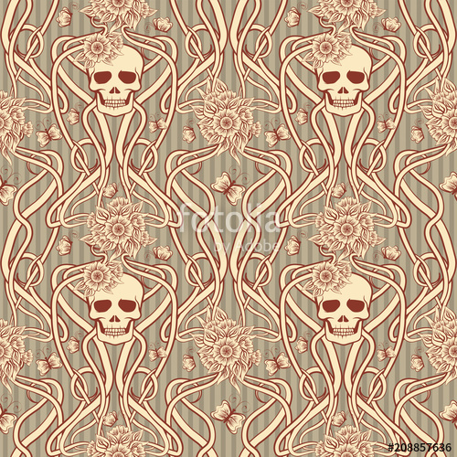 500x500 Seamless Background With Skull In Art Nouveau Style, Vector