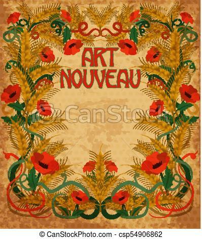 398x470 Wheaten Background In Art Nouveau Style, Vector Illustration.