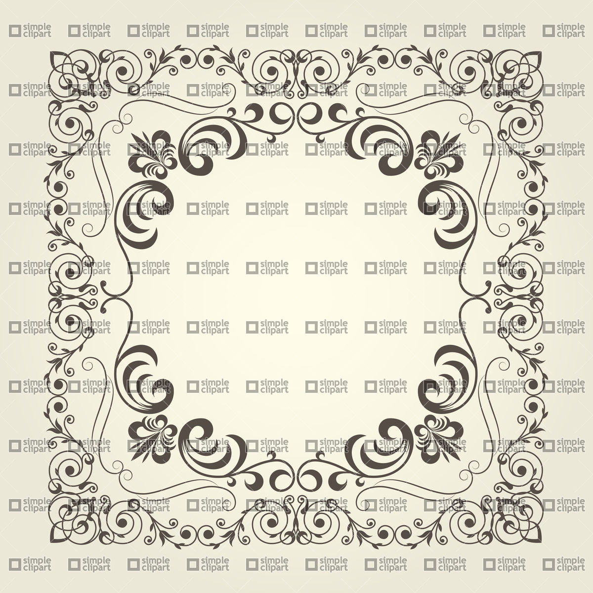 1200x1200 Art Nouveau Ornamental Square Frame With Curly Pattern Vector