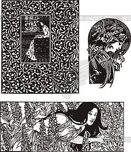 258x300 Art Nouveau Patterns With Women