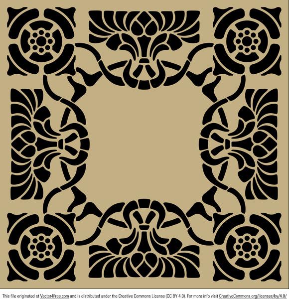 580x600 Art Nouveau Stencil Pattern Free Vector In Encapsulated Postscript