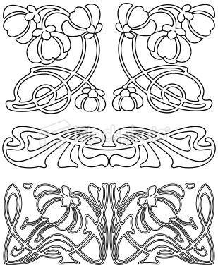 309x380 Bildresultat Stencil Art Nouveau Line Art