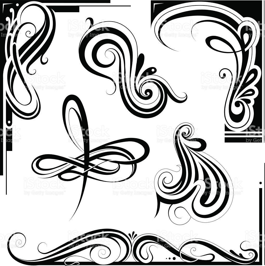 1019x1024 Decorative Elements And Vintage Frame Set In Art Nouveau Style