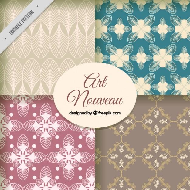 626x626 Pack Of Floral Art Nouveau Patterns Vector Free Download