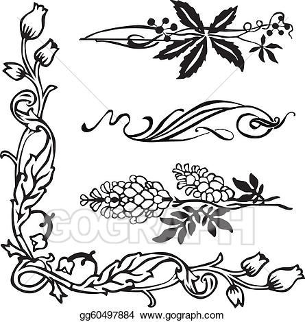445x470 Divider Clipart Art Nouveau Cute Borders, Vectors, Animated, Black