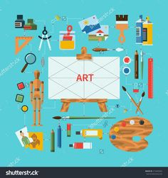236x251 Colored Flat Design Vector Illustration Icons Set Of Art Supplies