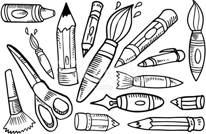 679x440 Doodle Art Supplies Set Stock Vector