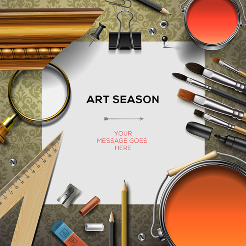 500x500 Paintbrush And Art Supplies Vector Background Free Vector In Adobe