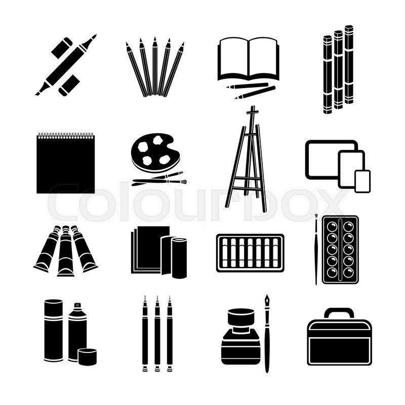 800x800 Set Flat Icons Art Supplies, Art Materials. Professional Art