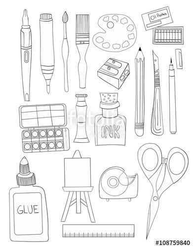 391x500 Set Of Art Supplies Line Art Illustrations White Fill Hand Drawn