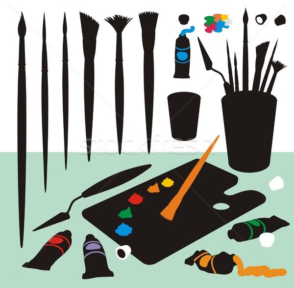600x586 Art Supplies Color Silhouettes Vector Illustration Housebrasil