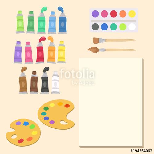 500x500 Art Supplies Set Vector Illustration Cartoon. Paint Tubes, Palette