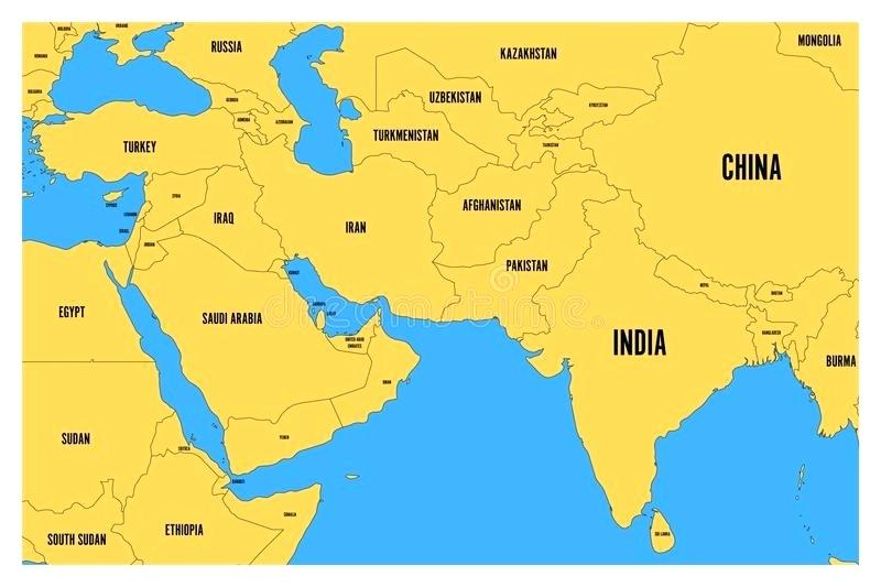 800x533 Download Political Map Of South And Middle East Simple Flat Vector
