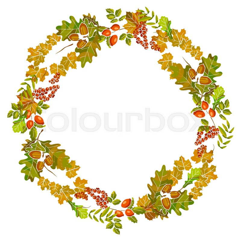 800x800 Autumn Leaves Wreath Or Fall Leaf Decoration Template Design For