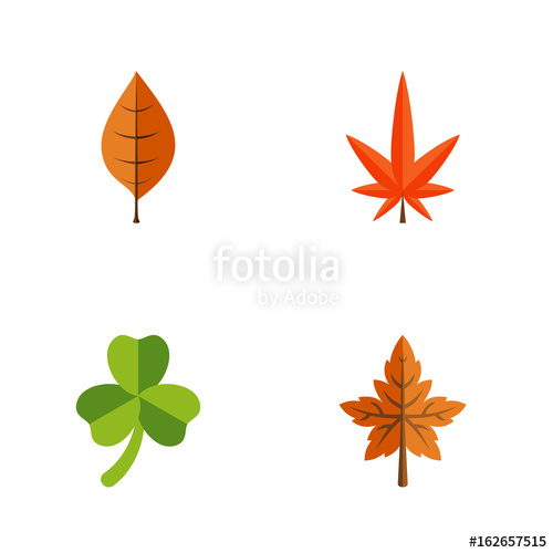 500x500 Flat Icon Leaves Set Of Alder, Aspen, Leaf And Other Vector