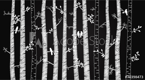 500x277 Vector Chalkboard Birch Or Aspen Trees With Autumn Leaves And Lo