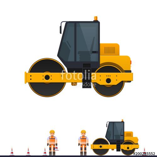 500x500 Vector Road Roller, Road Roller Rolls Asphalt, Vector Illustration