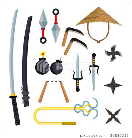 450x468 Ninja Weapons Set Vector. Assassin Accessories