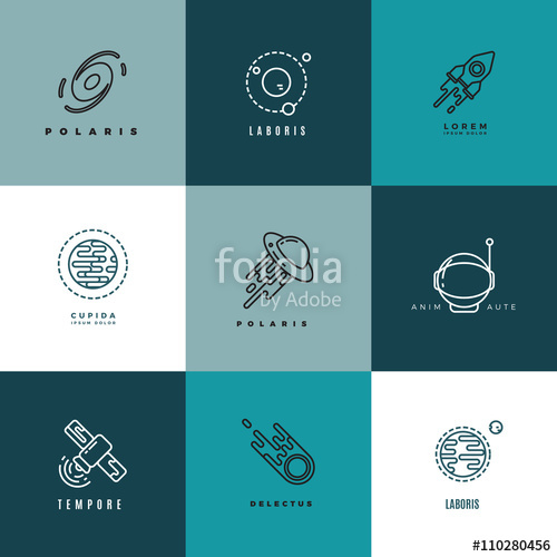500x500 Universe And Astronomy Thin Line Vector Icons And Logos Set