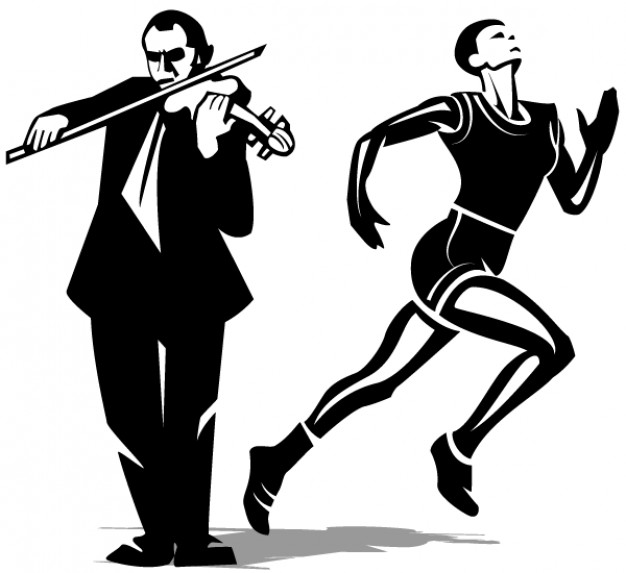 626x573 Athlete And Violinist Vector Clip Art Vector Free Download