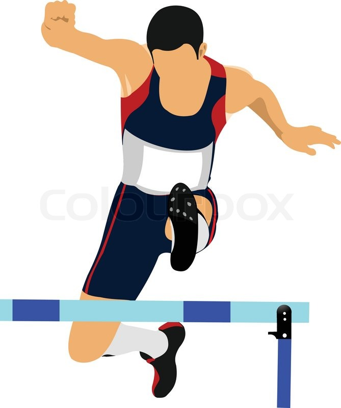 669x800 Illustration Of A Track And Field Athlete Running Jumping The