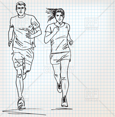 394x400 Man And Woman Runner Sketch