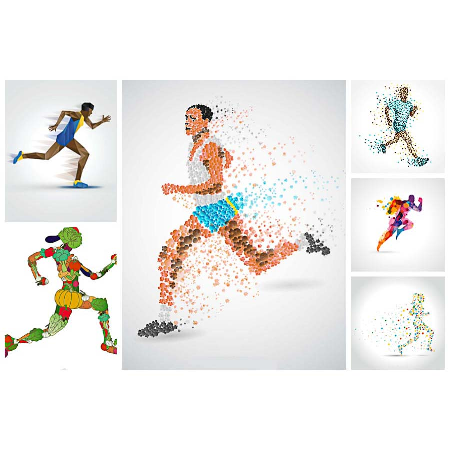 900x900 Running Athlete Abstract Vector Free Download