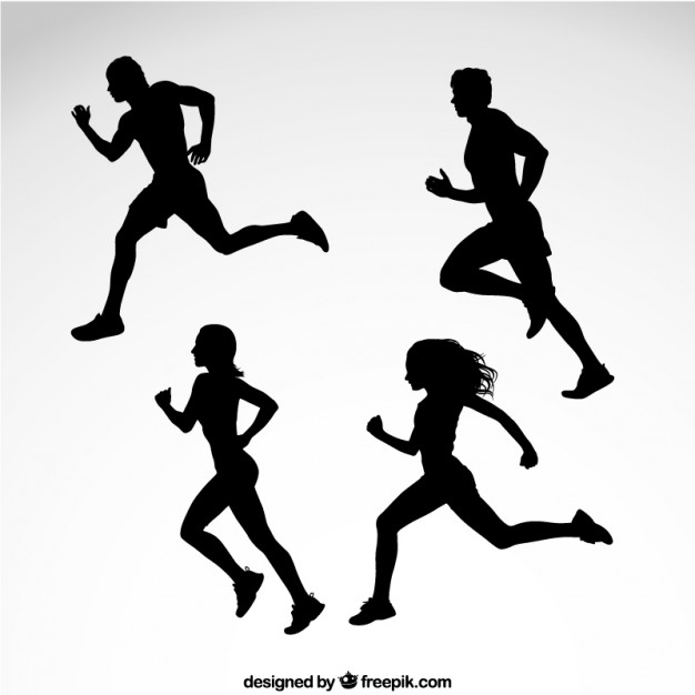 626x626 Silhouettes Of Runners Vector Free Download