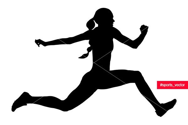 600x400 Woman Athlete Jumping Triple Jump. Black Silhouette Vector