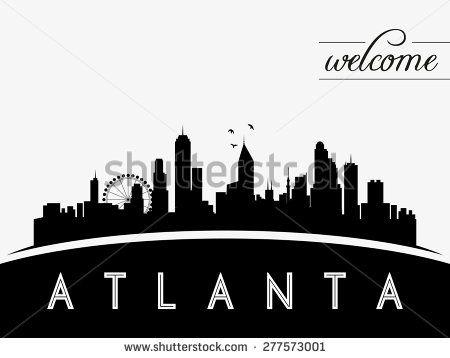 450x358 Atlanta Usa Skyline Silhouette, Black And White Design, Vector