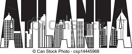 450x186 Atlanta Georgia City Text Outline Illustration. Atlanta Georgia