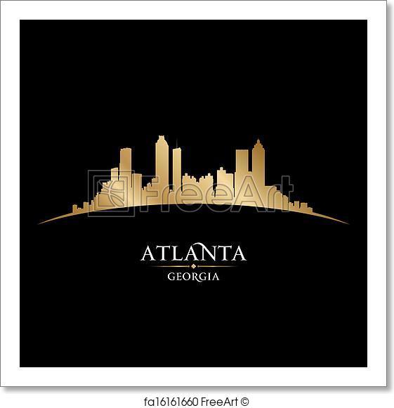 561x581 Free Art Print Of Atlanta Georgia City Skyline Silhouette Black