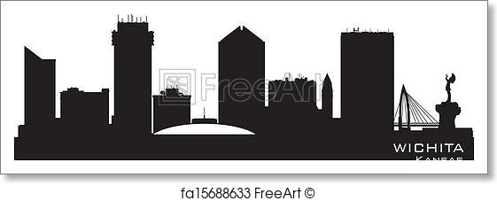 561x227 Free Art Print Of Wichita Kansas City Skyline Vector Silhouette