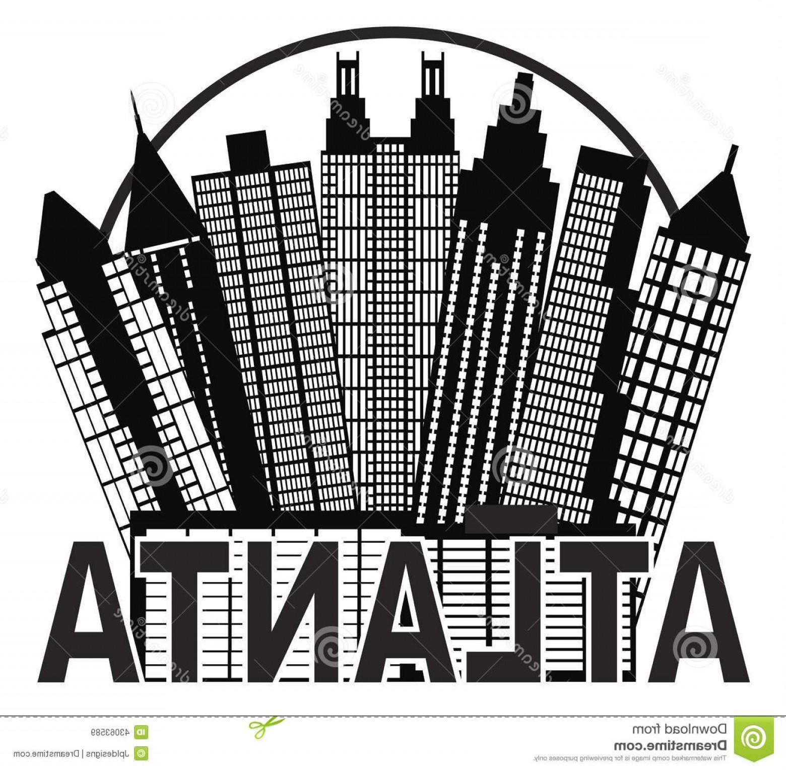 1560x1528 Stock Illustration Atlanta Skyline Circle Black White Vector Illu