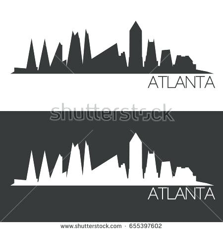 450x470 Atlanta Skyline Silhouette Skyline Silhouette Abstract Design City