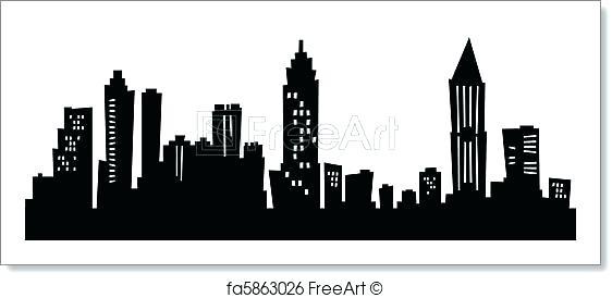 562x274 Atlanta Skyline Silhouette Skyline Silhouette Free Art Print Of