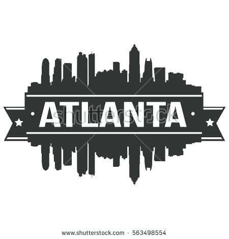 450x470 Atlanta Skyline Silhouette Stamp Vector Zelenbor