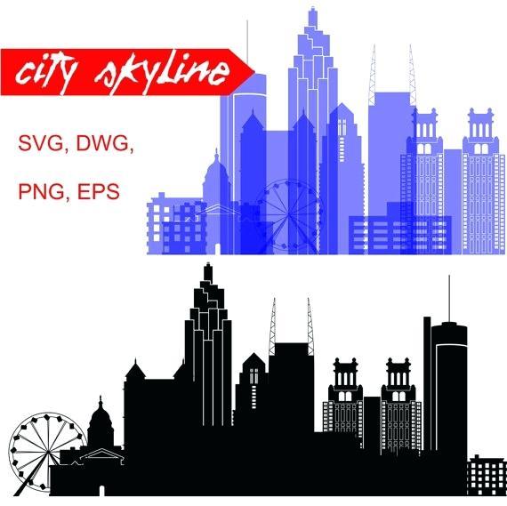 570x569 Atlanta Skyline Silhouette Vector Zelenbor