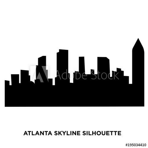 500x500 Atlanta Skyline Silhouette On White Background